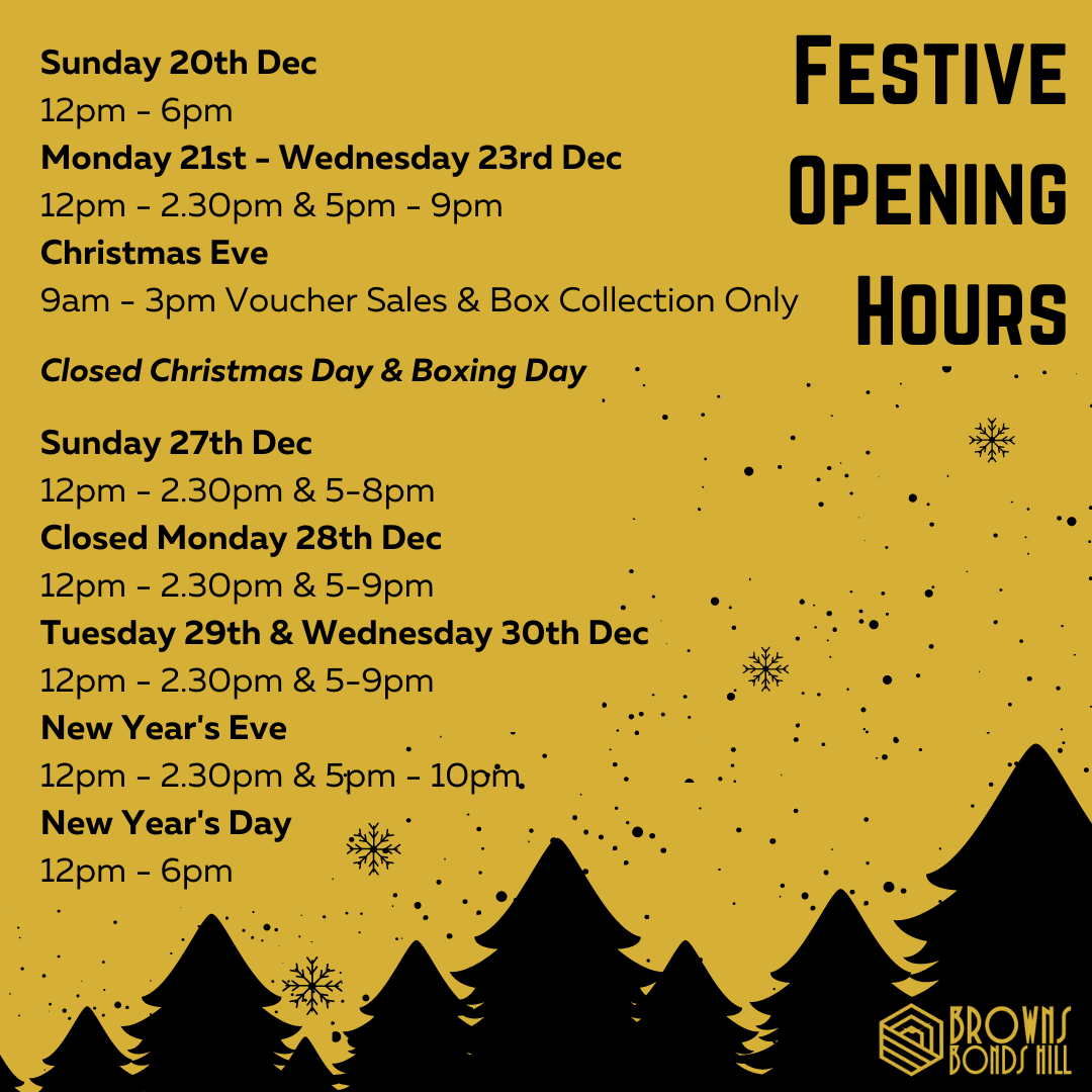 Browns Bonds Hill Restaurant Derry / Londonderry Festive Opening Hours 2020