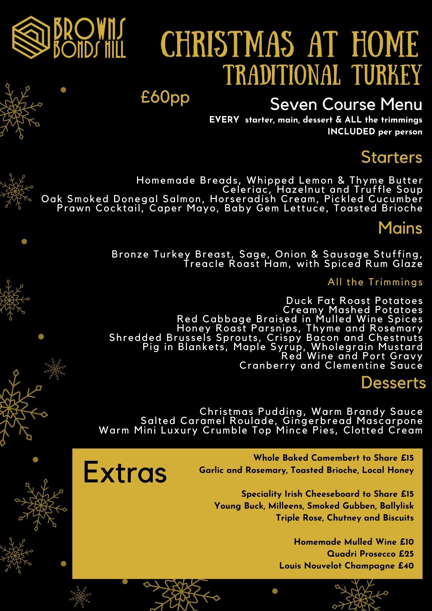 Christmas Dine at Home Menu Derry / Londonderry / Northern Ireland